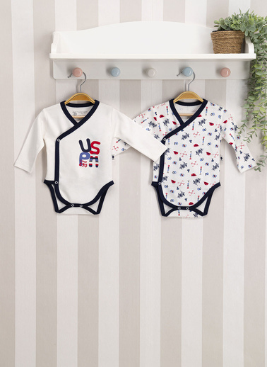 U.S. Polo Assn. Lisanslı Lacivert Krem Bebek 2'Li Body Zıbın Lacivert
